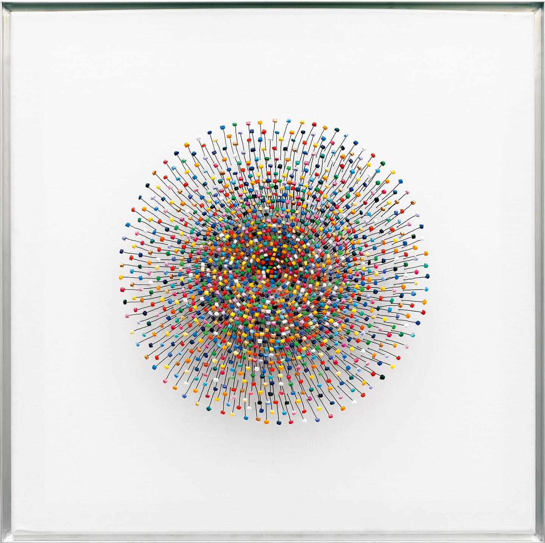 Freude, 2013, Flaschenkork, Draht, Acrylfarbe auf Leinwand Bildmaß 60 × 60 cm