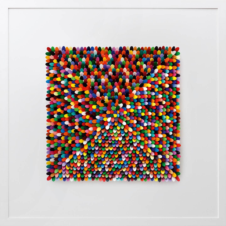 Renate Fabricius, Quadrat bunt, 1998, Flaschenkork, Acrylfarbe auf Leinwand