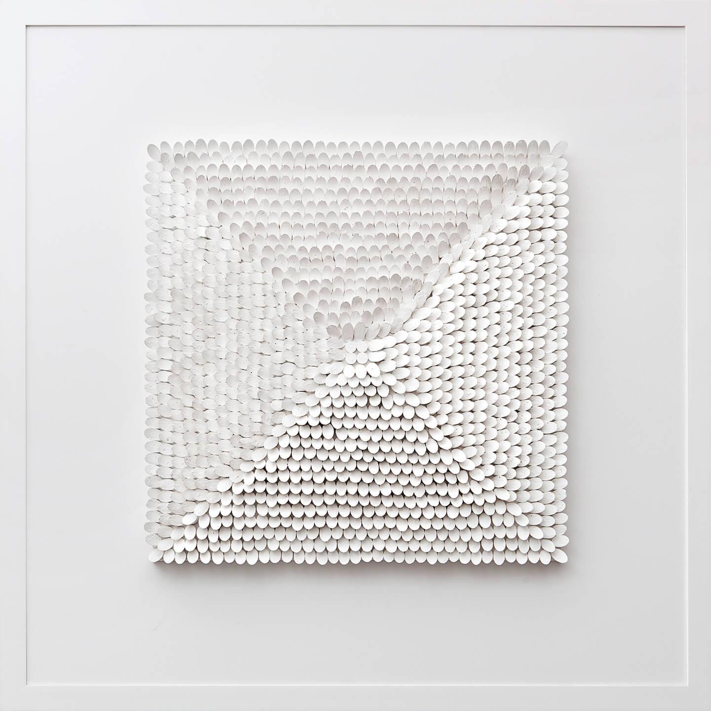 Quadrat weiß, 1998, Flaschenkork, Acrylfarbe auf Leinwand