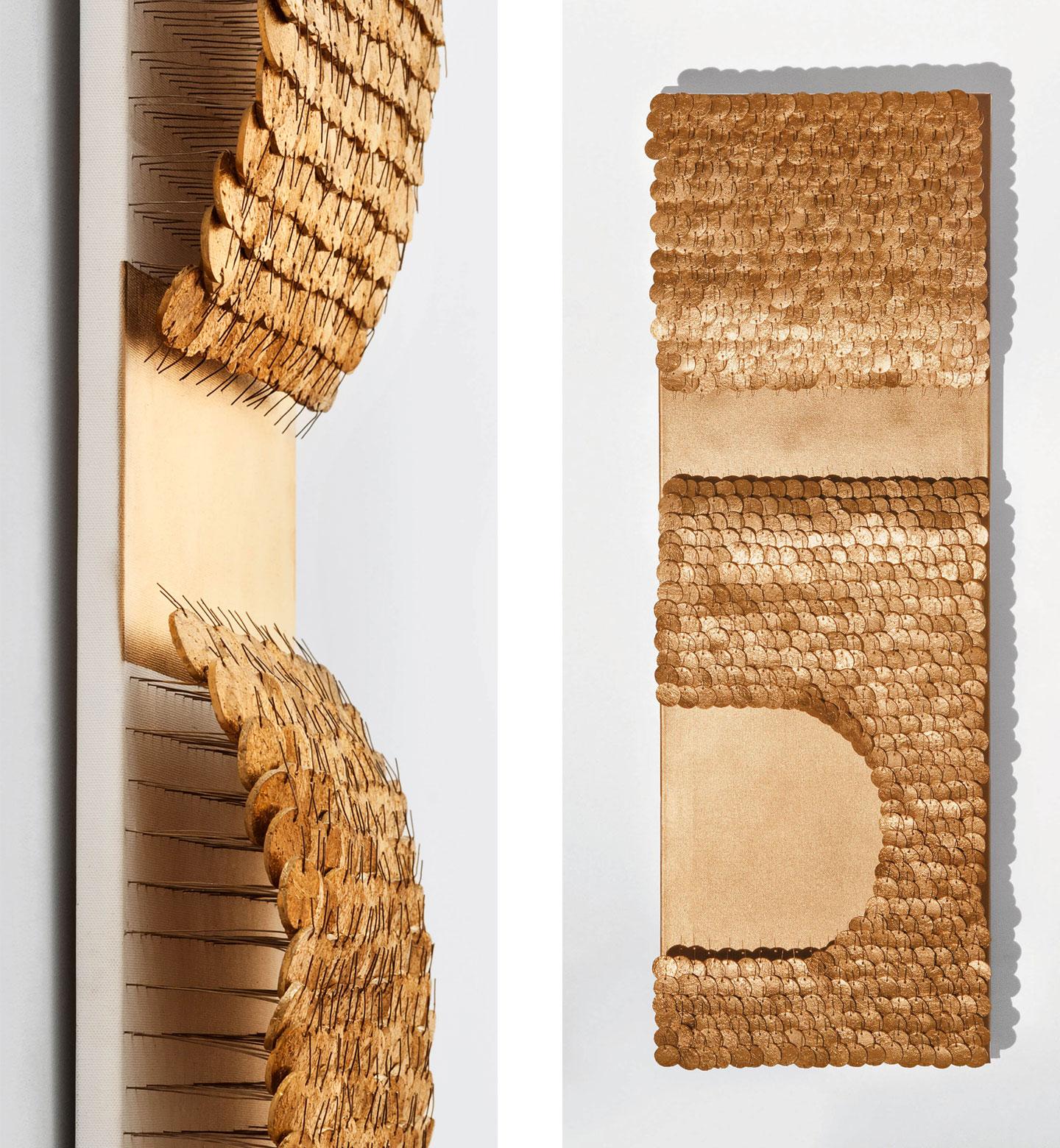 Tutanchamun, 2012, Flaschenkork, Draht, Autolack auf Leinwand Bildmaß 120×40 cm