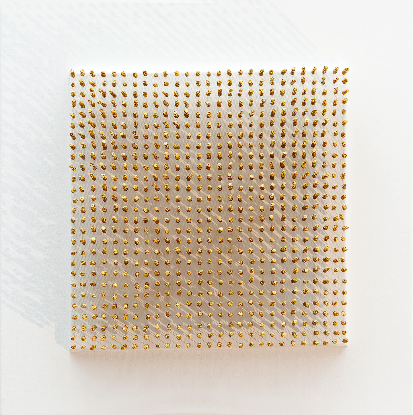 Golden Soldiers, 2014, bottle corks, wire, acrylic paint on canvas