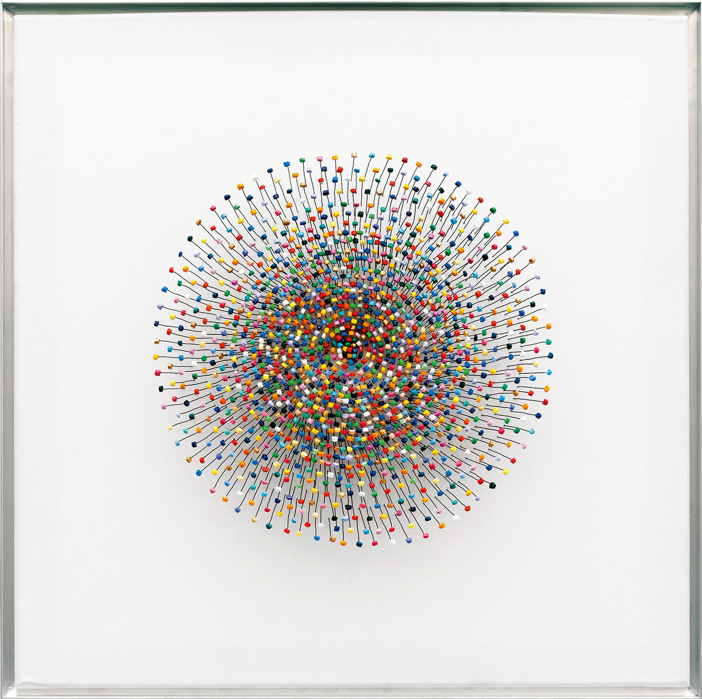 Joy, 2013, bottle corks, wire, acrylic paint on canvas